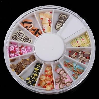 12 feluri FIMO serie tort Nail Art decorare felie (tipar aleatoriu)