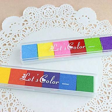 6 χρώματα του ουράνιου τόξου γραμματόσημα inkpad για ζωγραφική δακτυλικών αποτυπωμάτων λευκώματος παιδιά γαμήλιο δώρο γενεθλίων εύνοιες συμβαλλόμενων