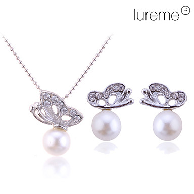 Women's Jewelry Set Stud Earrings Pendant Necklace Pearl Alloy Butterfly Animal Basic Bridal Elegant Wedding Party Gift Daily Earrings