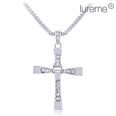 miesten metalliseos timantti upotettu risti kaulakoru (hopea)