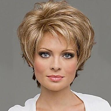 Synthetische Perücken Locken Blond Synthetische Haare 10 Zoll Blond Perücke Damen Kappenlos Blonde