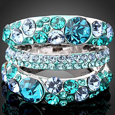 Dames Statement Ring Paars Smaragd Kubieke Zirkonia Strass Legering Opvallende sieraden Modieus Feest Kostuum juwelen