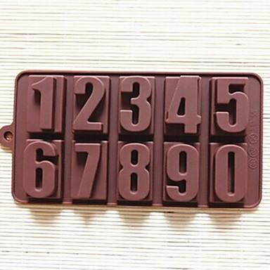 αριθμοί σχήμα τούρτα μούχλα πάγο ζελέ μούχλα σοκολάτα, σιλικόνη 22 × 11.2 × 2 εκατοστά (8.7 × 4.4 × 0.8 ιντσών)