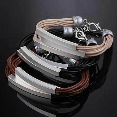 ms mode multi-layer plating zilveren leren armband prachtige gift