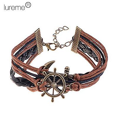 Lureme®Alloy Anchor Pattern Handmade Braided Bracelet