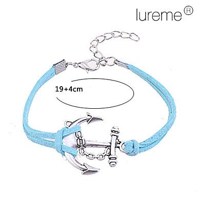 Lureme®Anchor Hook Pattern Leather Alloy Charm Bracelet