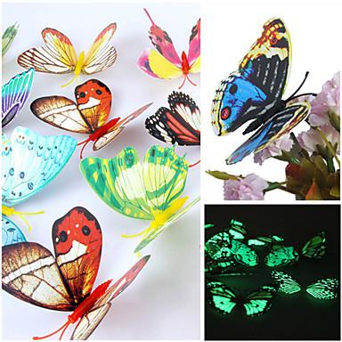 Decalques 3d emulational luminosos borboleta pvc parede adesivos de parede arte (cores aleatórias, 12 pcs um conjunto)