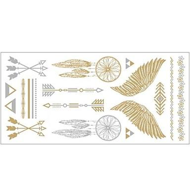 1pc goud en zilver metallic ketting armband tattoo sticker