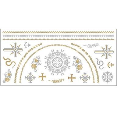 - Dövme Etiketleri - Temalı - Totem Serisi - Kadın/Girl/Yetişkin/Genç - Altın Rengi - Kağıt - #(1) -Adet #(20x10x0.2)