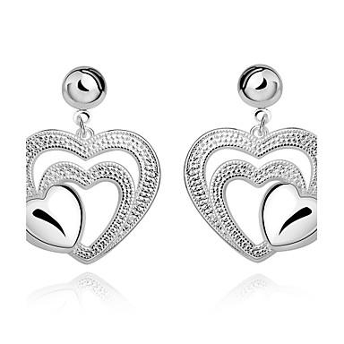 Kadın's Genç Kız Damla Küpeler Kristal Kalp Gümüş Kaplama Heart Shape Mücevher Uyumluluk Düğün Parti Günlük