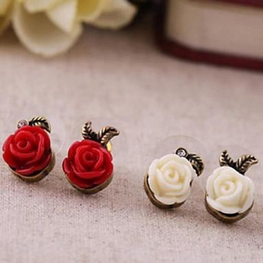 Mulheres Jóias Brincos Compridos - Flor Plástico Liga Para