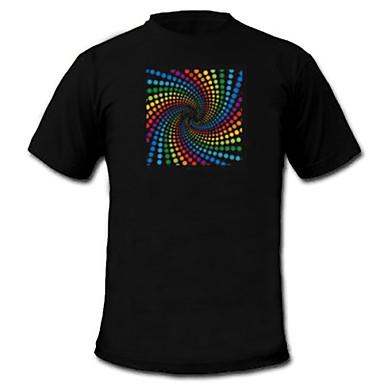 LED T-shirts Door Geluid Geactiveerde LED Lampen Textiel Stijlvol 2 AAA Batterijen
