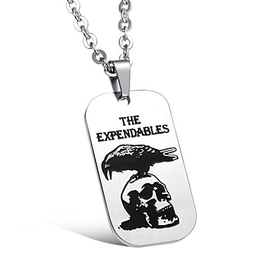 z&x® punk vintage titanium staal dog tag hanger mannen ketting