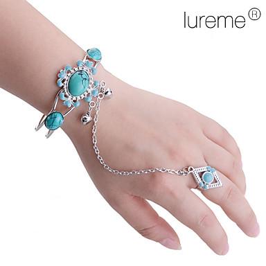 Lureme®Vintage Alloy Resin Gem Pattern Bracelet with Sunflower Pattern Ring