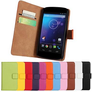 solid de culoare piele naturală caz corp plin cu suport și slot pentru card de lg E960 / Nexus 4 (culori asortate)