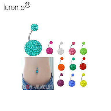 Lureme®Silver Plated Stainless Steel Rhinestones Navel/Ear Piercing(Assorted Color)