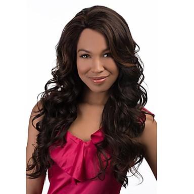 Συνθετικές Περούκες Σγουρά Κούρεμα με φιλάρισμα Με αφέλειες Καταρράκτης Καφέ Γυναικεία Πλήρης Δαντέλα Μακρύ Μακρύ Συνθετικά μαλλιά
