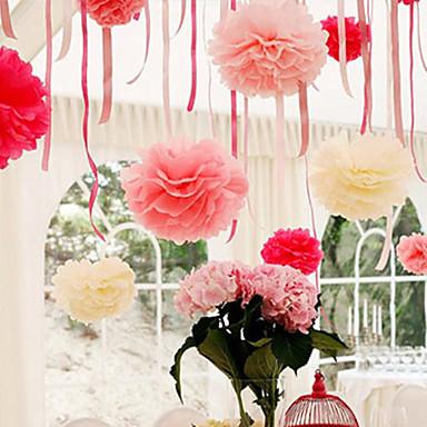 4 inç kağıt mendil pom poms düğün dekor kraft kağıt çiçekler düğün (4 set)