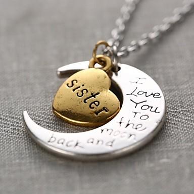 Kadın's Uçlu Kolyeler - MOON, Kalp, Aşk Kişiselleştirilmiş, Moda Altın / Gümüş Kolyeler Mücevher 1pc Uyumluluk Hediye, Günlük