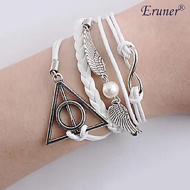 eruner®new Harry Potter infinidade pulseira asas DIY pulseiras de couro corda charme branco