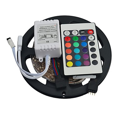 5M 300EDs 3528 RGB Not Waterproof with 24Keys IR Remote Controller Flexible LED Light Strips