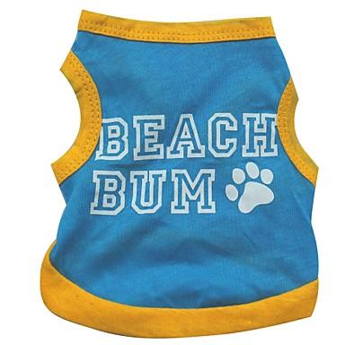Gato Cachorro Camiseta Roupas para Cães Respirável Carta e Número Azul Ocasiões Especiais Para animais de estimação