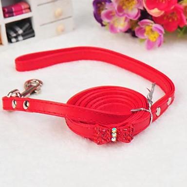 einstellbare PU-Leder Rhinestonebowknot verziert Halsband mit Leine für Hunde (farblich sortiert)