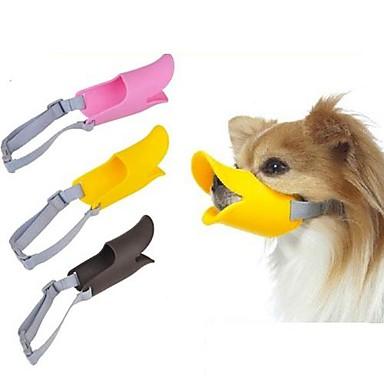Köpek Ağızlık Ayarlanabilir / İçeri Çekilebilir anti Bark Güvenlik Solid Silikon Sarı Kahverengi Pembe