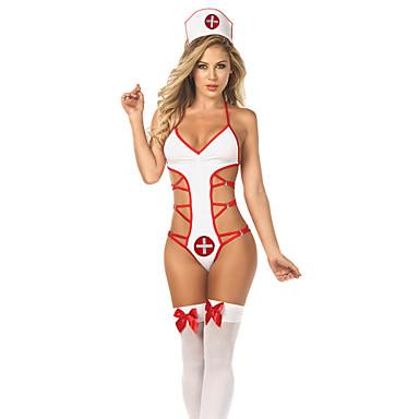 Uniforme Uniforme de Spital Sex Costume Cosplay Gol Leotard / Onesie Cordeluțe