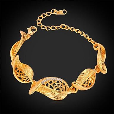 Damen Kubikzirkonia Ketten- & Glieder-Armbänder - Zirkon, vergoldet Armbänder Golden Für Hochzeit / Party / Alltag