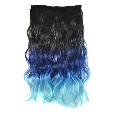 18 inch vrouwen clip lichaam golvend zwart blauw kleurverloop haarstukken synthetische extensies