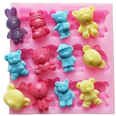 tavşan hayvan biçimli fondan kek çikolata silikon kalıp kek dekorasyon araçları ayı, l11.4cm * w10.6cm * h1.4cm