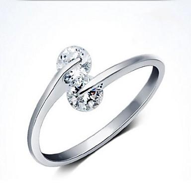Dames Sterling zilver Gesimuleerde diamant Statement Ring - Gepersonaliseerde Open Verstelbaar Eenvoudige Stijl Europees Zilver Ring Voor