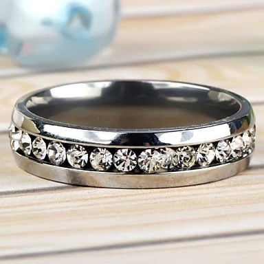 Women's Band Ring Stainless Steel Imitation Diamond Daily Casual Costume Jewelry