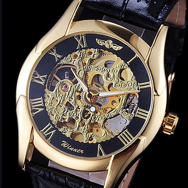 levne Pánské-WINNER Pánské Náramkové hodinky mechanické hodinky Automatické natahování Kůže Černá S dutým gravírováním Analogové Přívěšky - Zlatá