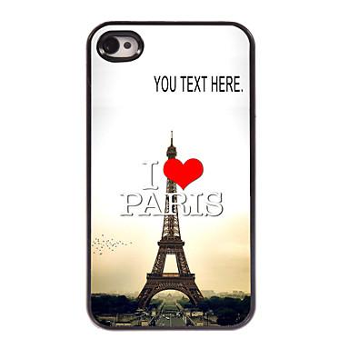 caixa personalizada eu amo paris caso Torre Eiffel design de metal para iPhone 4 / 4S