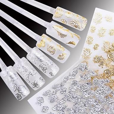 24 pcs Çiçek / Düğün / Moda Su Transfer Etiketi / 3D Çivi Çıkartmaları Günlük / Plastik