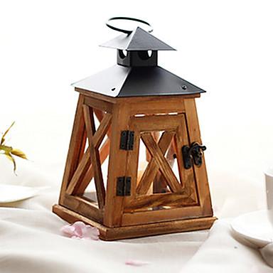 Europese stijl retro houten kaars lantaarn