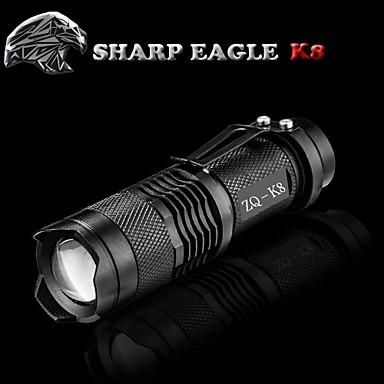 SHARP EAGLE LED-Zaklampen LED 500LM lm Modus Cree XR-E Q5 Zoombare Schokbestendig Antislip-handgreep Oplaadbaar Waterbestendig Klem Klein