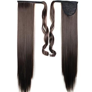 Koyu Kahverengi Düz At Kuyrukları Sentetik Saç Parçası Ek saç