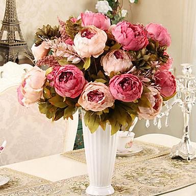 1 Tak Zijde Pioenen Bloemen voor op tafel Kunstbloemen