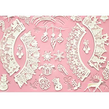dekorasyon için dört-c kek pişirme mat dantel mat silikon kek kalıbı, silikon mat fondan kek araçları renk pembe