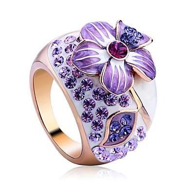 Mulheres Maxi anel Cristal Luxo Cristal Chapeado Dourado Imitações de Diamante Jóias Casamento Festa Noivado Diário Casual
