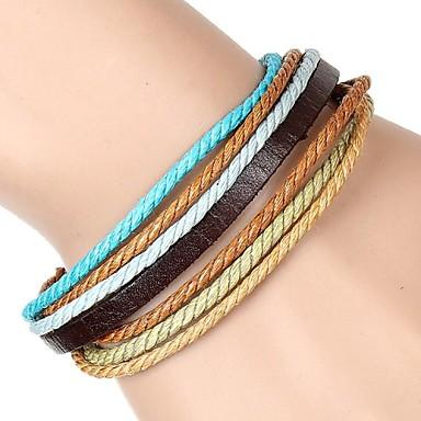 Heren Dames Vintage Armbanden Lederen armbanden ID Armbanden Vriendschap armbanden Wikkelarmbanden Leder Stof Sieraden Feest Dagelijks