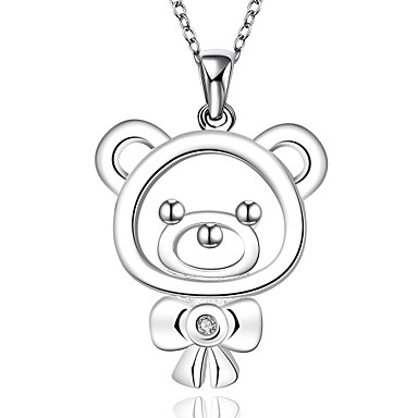 cheap Necklaces-Women's Cubic Zirconia Choker Necklace Pendant Necklace Pendant Bear Animal Ladies Fashion Cute Synthetic Gemstones Sterling Silver Zircon White Necklace Jewelry For Christmas Gifts Wedding Party