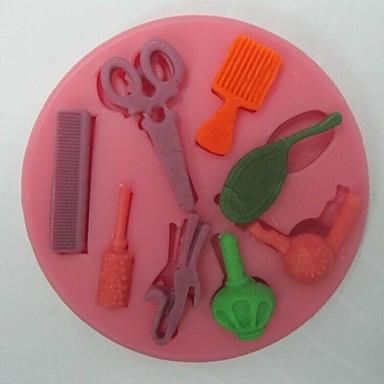 schaar haar tools vormige fondant cake chocolade siliconen mal, cupcake decoratie gereedschappen, l8.2cm * w8.2cm * h0.9cm