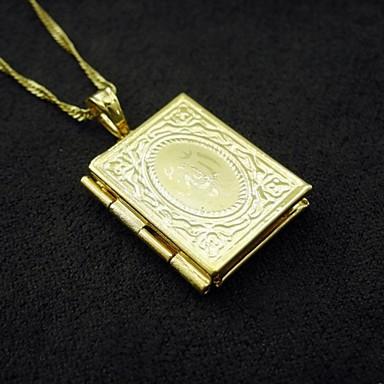 18k banhado a ouro verdadeiro allah foto muçulmanos caixa pendente 1.2 * 2,5 centímetros