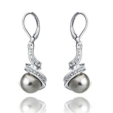 Druppel oorbellen Kristal Imitatieparel Verguld Wit Zwart Sieraden Voor Bruiloft Feest Dagelijks Causaal 2 stuks
