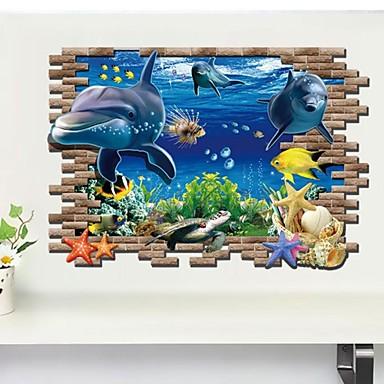 Hayvanlar 3D Duvar Etiketler 3D Duvar Çıkartması Dekoratif Duvar Çıkartmaları, Vinil Ev dekorasyonu Duvar Çıkartması Duvar