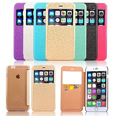 Voor iPhone 6 iPhone 6 Plus Hoesje cover Kaarthouder met venster Flip Reliëfopdruk Volledige behuizing hoesje Effen Kleur Hard PC voor